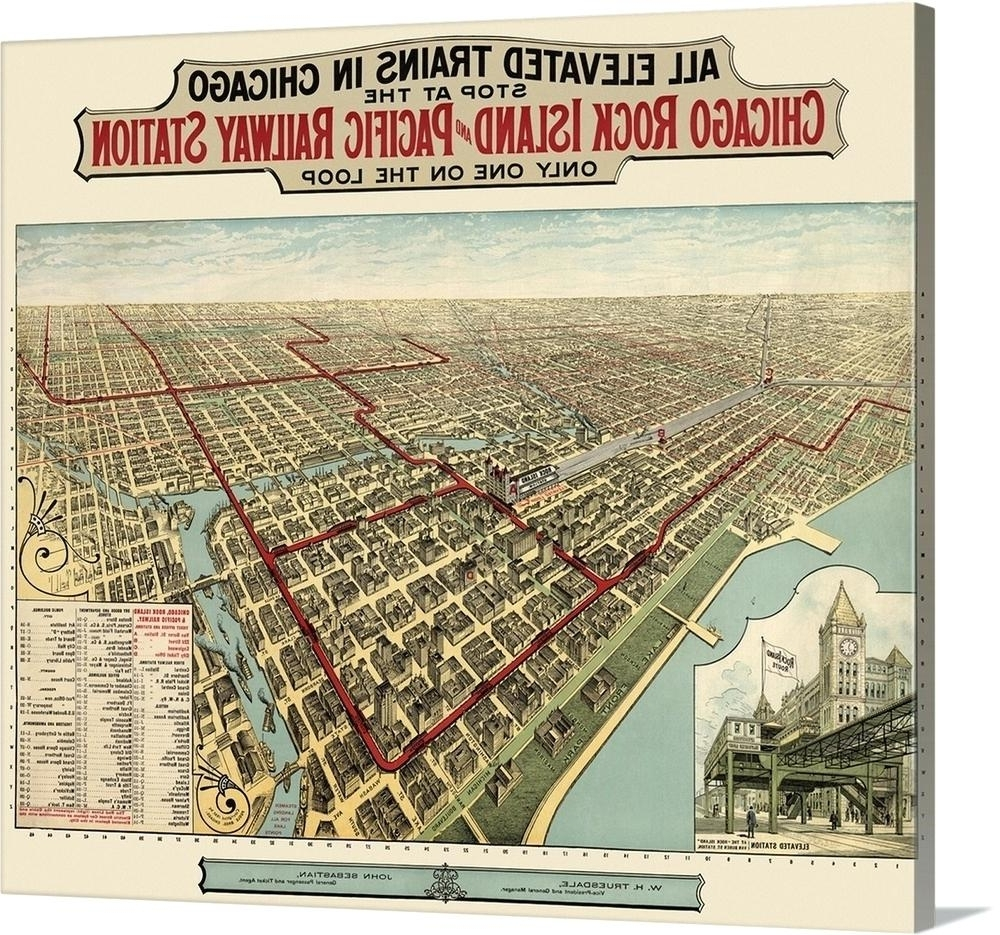 Chicago Map Wall Art Vintage Birds Eye View Map Of Chicago For Most Popular Chicago Map Wall Art (View 5 of 15)