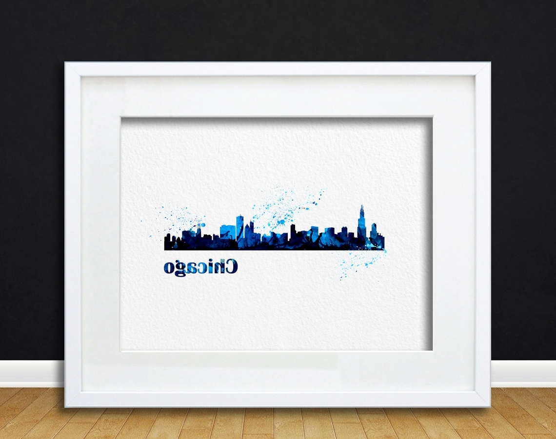 Chicago Wall Art Pertaining To Well Known Watercolor Art Cityscape Chicago Gift Modern 8X10 Wall Art Decor (View 3 of 15)