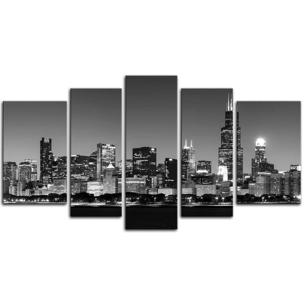 Chicago Wall Art With 2018 Amazon: 5 Pieces Modern Canvas Painting Wall Art The Picture For (View 4 of 15)