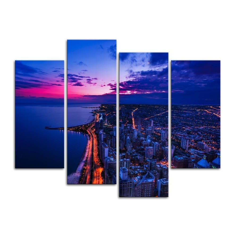 Chicago Wall Art With Regard To Favorite Banmu Canvas Painting Wall Art Print Home Decor Chicago Skyline City (View 5 of 15)