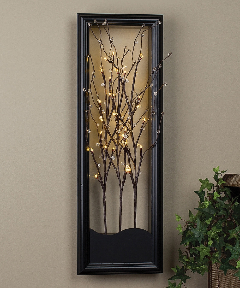 Clear Led Willow Branch Wall Art Light And Glow Design Ideas Of Regarding Favorite Lighted Wall Art (View 12 of 15)