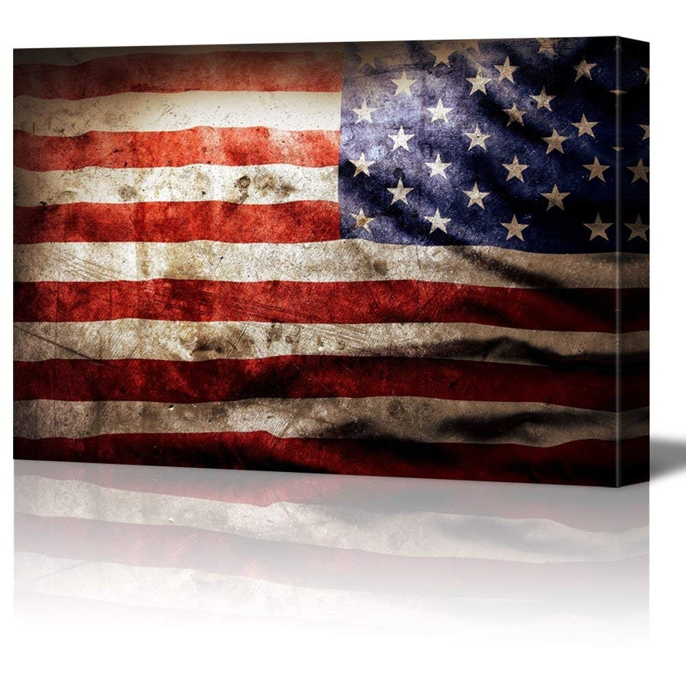 Closeup Of Grunge American Flag Vintage Retro Style Patriotic Pertaining To Most Recent Vintage American Flag Wall Art (View 11 of 15)