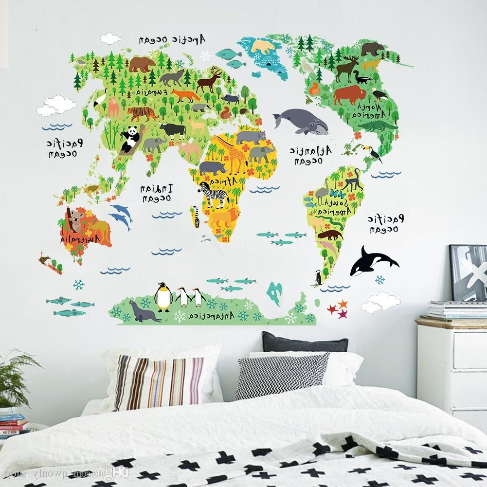 Colorful Animal World Map Wall Stickers Living Room Home Decorations Throughout 2017 World Map Wall Art For Kids (View 1 of 15)