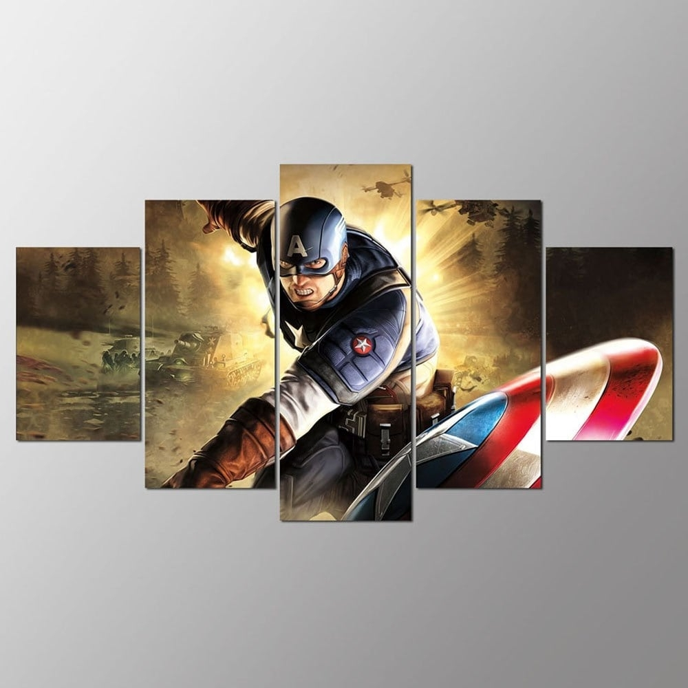 Colormix 30X40Cmx2+30X60Cmx2+30X80Cmx1(12X16Inchx2+12X24Inc Ysdafen Within Fashionable Captain America Wall Art (View 10 of 15)