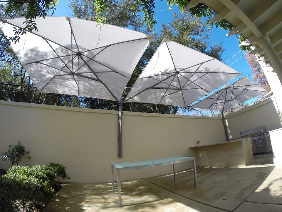 Commercial Patio Umbrellas In Well Known Minimalist Patio Outdoor With Triple Wall Mount Commercial Stand (View 4 of 15)