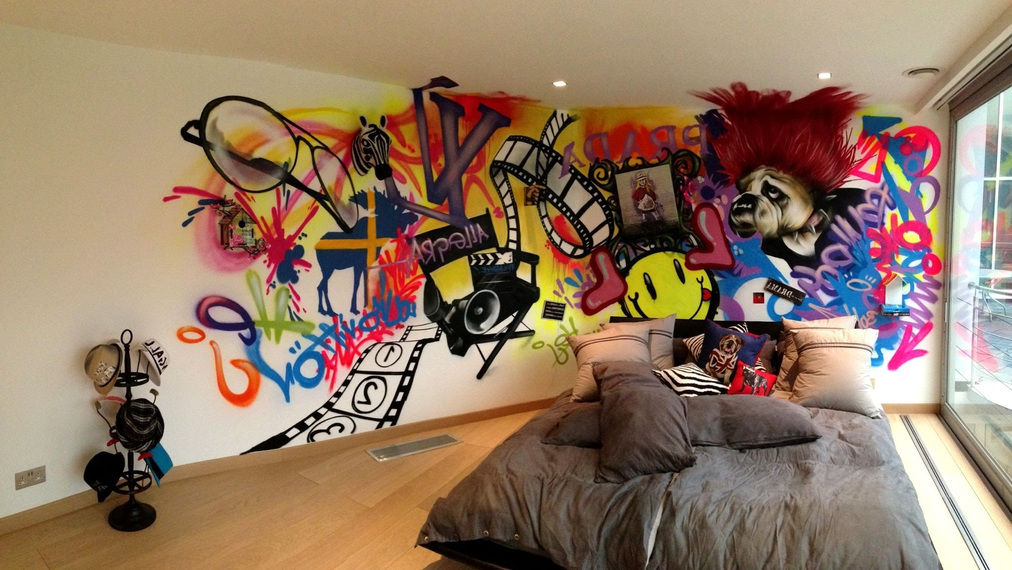 Cool Wall Art With Regard To Well Known Wall Art Graffiti For Young Bedroom With Recessed Lights And Wood (View 13 of 15)