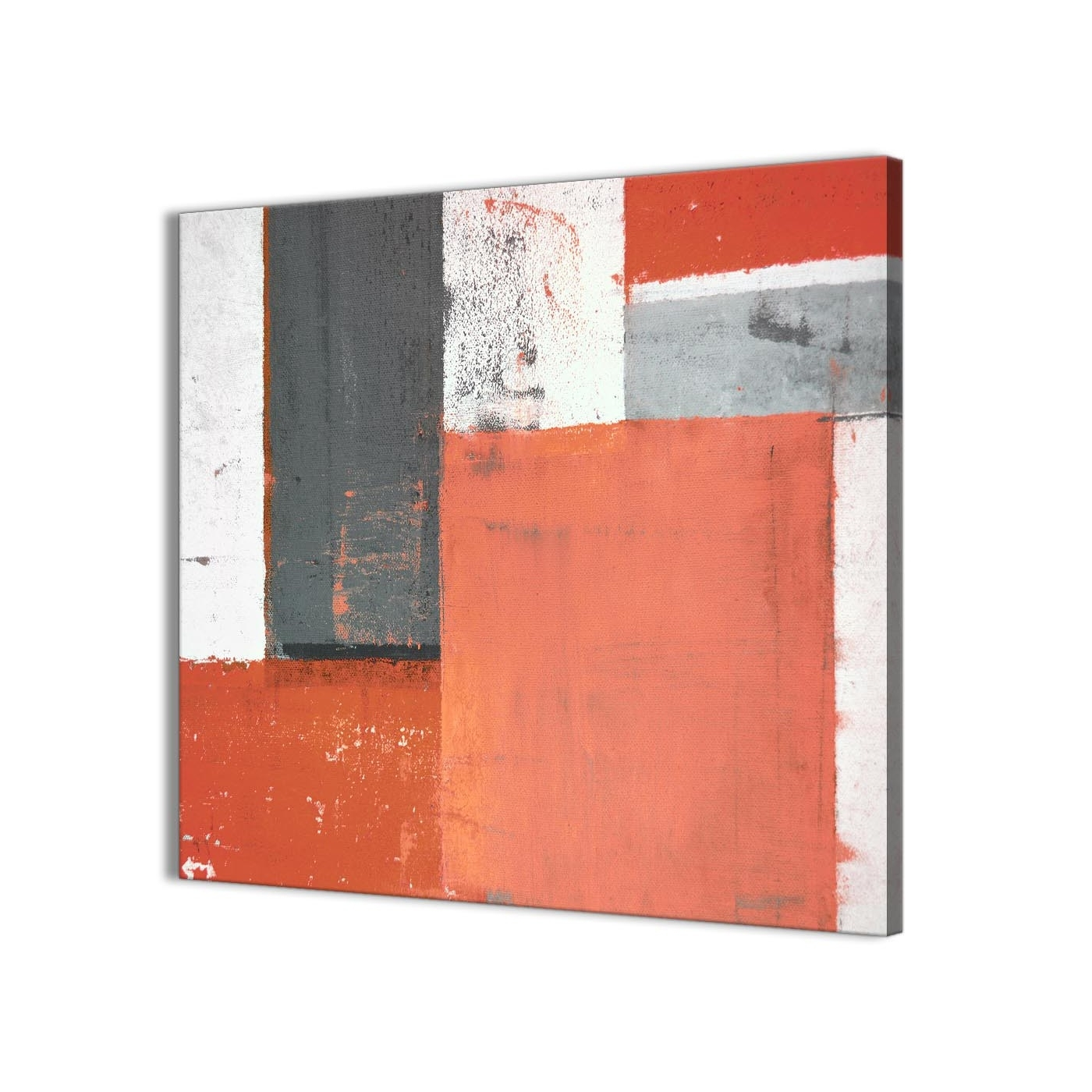 Coral Grey Abstract Painting Canvas Wall Art Pictures – Modern 49Cm For Best And Newest Modern Canvas Wall Art (View 12 of 15)