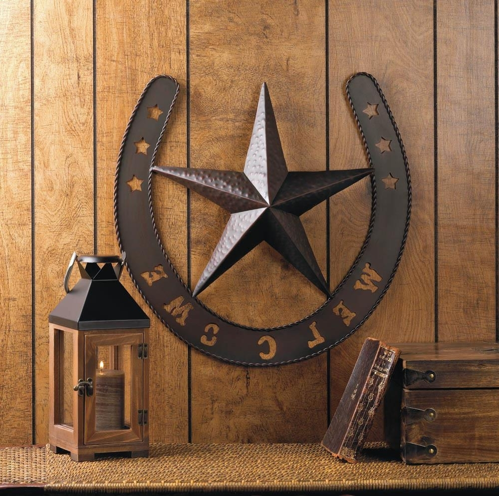 Country Wall Art Regarding Widely Used Rustic Welcome Star Horseshoe Country Cowboy Horse Metal Wall Art (View 7 of 15)
