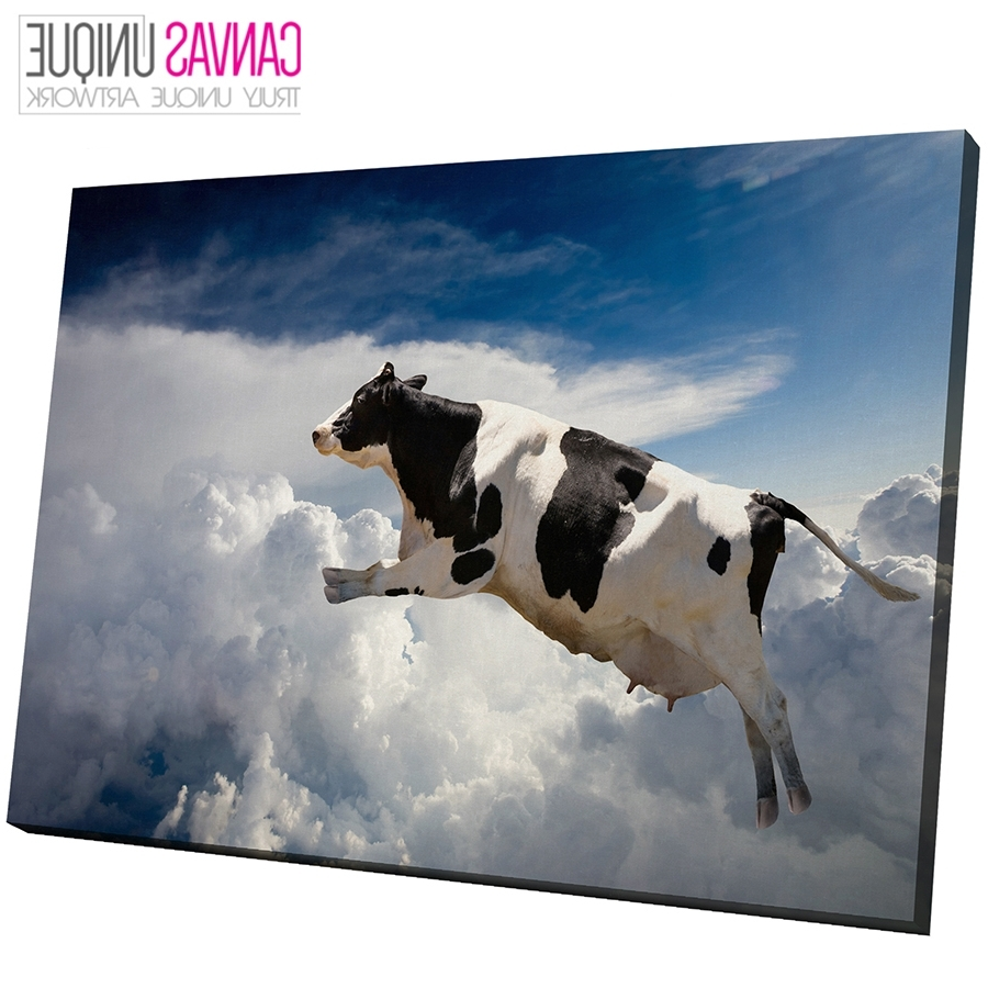 Cow Canvas Wall Art Intended For Best And Newest A124 Black White Flying Cow Blue Sky Animal Canvas Wall Art Framed (View 13 of 15)