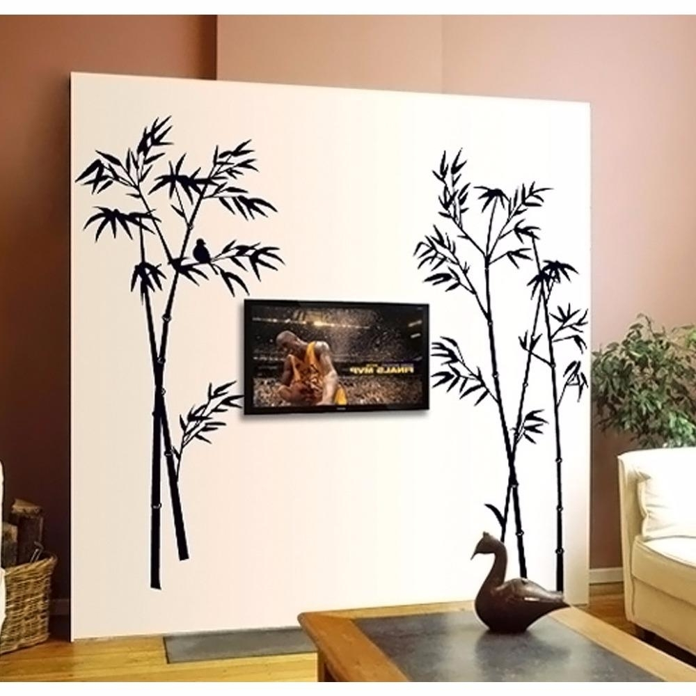 Creative Animal Bird On The Black Bamboo Wall Stickers Home Decor Throughout Recent Bamboo Wall Art (View 7 of 15)
