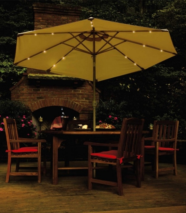 Creative Of Patio Umbrellas With Solar Lights Solar Powered Within Latest Solar Patio Umbrellas (View 7 of 15)