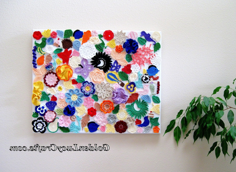 Crochet Wall Art in Most Current Crochet Wall Hanging, Wall Decoration, Wall Art, Craft Idea