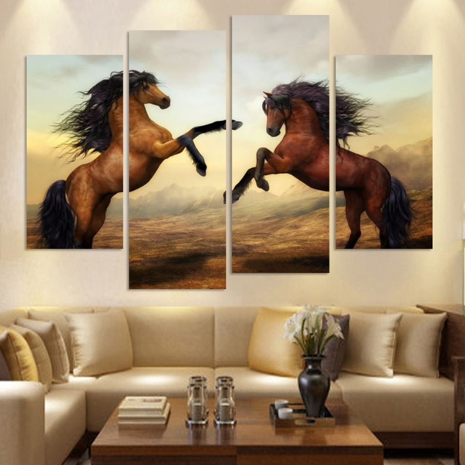 Cuadros Canvas Painting 4 Piece Running Horse Painting Modern Wall With Regard To 2018 Horses Wall Art (View 13 of 15)