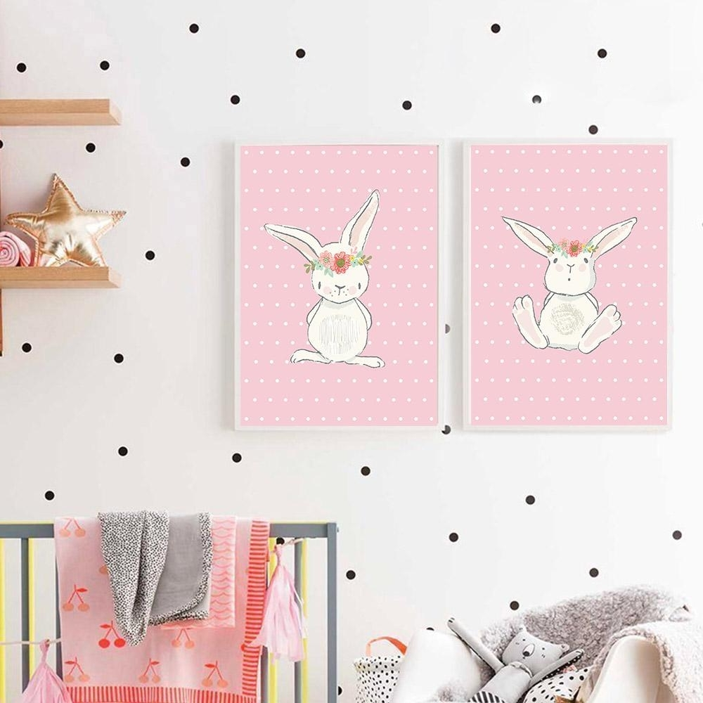 Current 2018 Cute Pink Rabbit Bunny Wall Art Canvas Posters Cartoon Animal Pertaining To Bunny Wall Art (View 4 of 15)