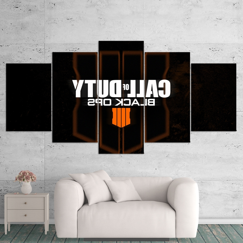 Current 5 Piece Wall Art Canvas In Call Of Duty Black Ops 4 Logo 5 Piece Canvas Wall Art Gaming Canvas (View 13 of 15)