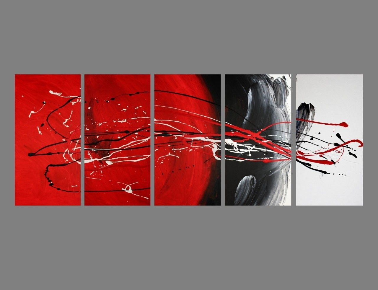 Current Abstract Canvas Painting Red Black White (View 3 of 15)