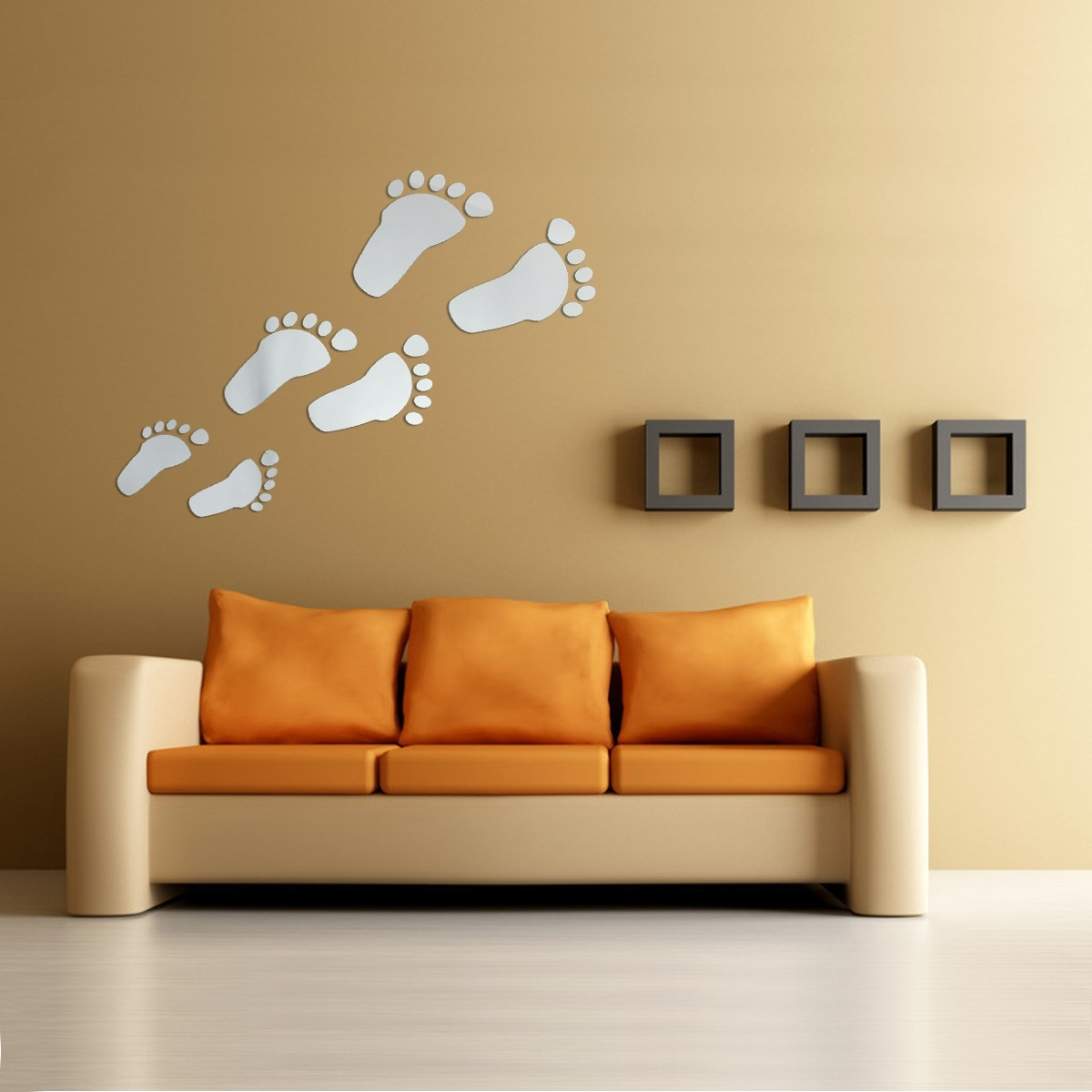 Current Acrylic Wall Art Inside 6Pcs Diy Footprint Acrylic Wall Sticker Fat Footprints Mirror Wall (View 7 of 15)