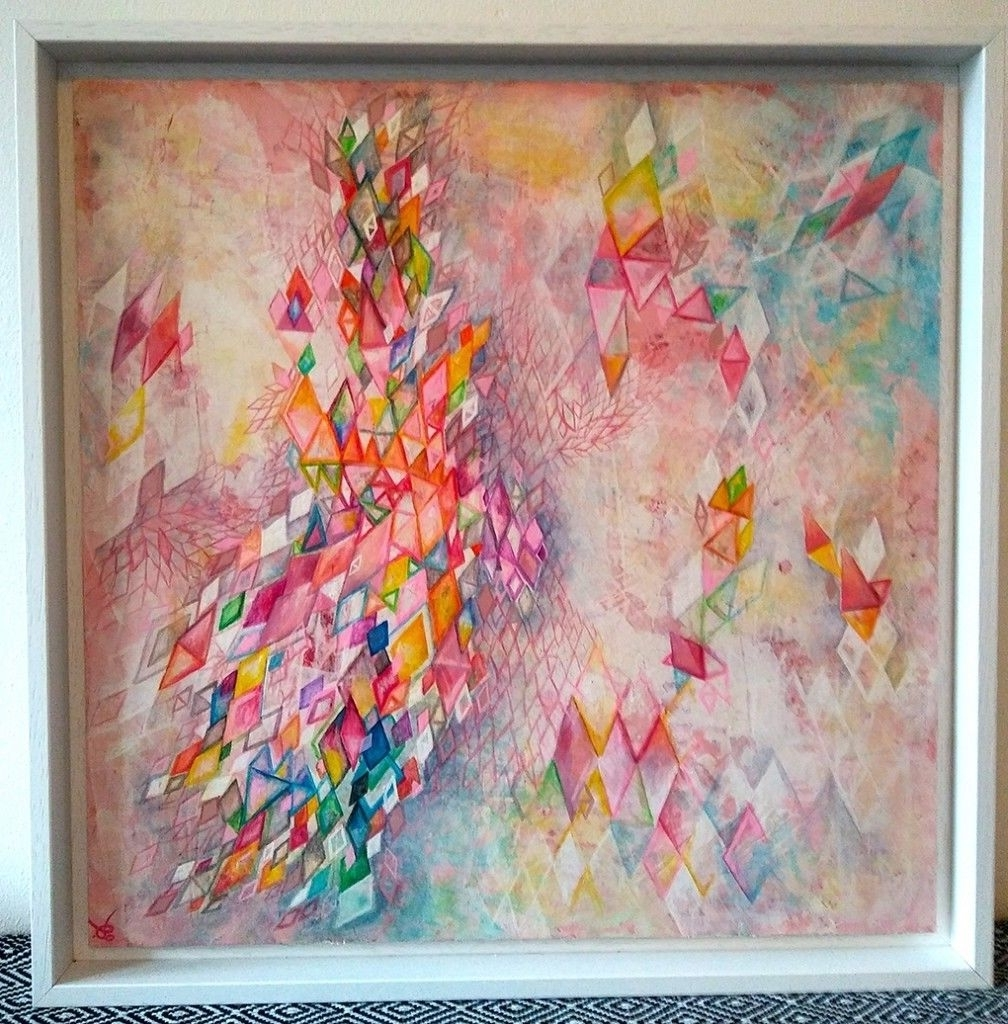 Current Acrylic Wall Art Inside Geometric Art, Painting, Abstraction, Acrylic, Framed, Wall Art (View 13 of 15)