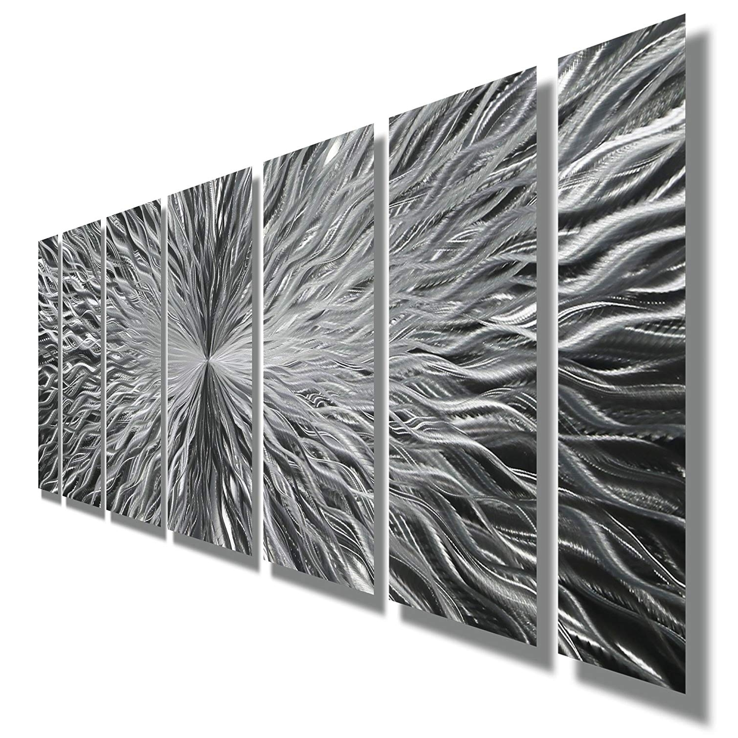 Current Amazon: Silver Contemporary Metal Wall Art – Abstract Home Decor In Contemporary Metal Wall Art (View 6 of 15)