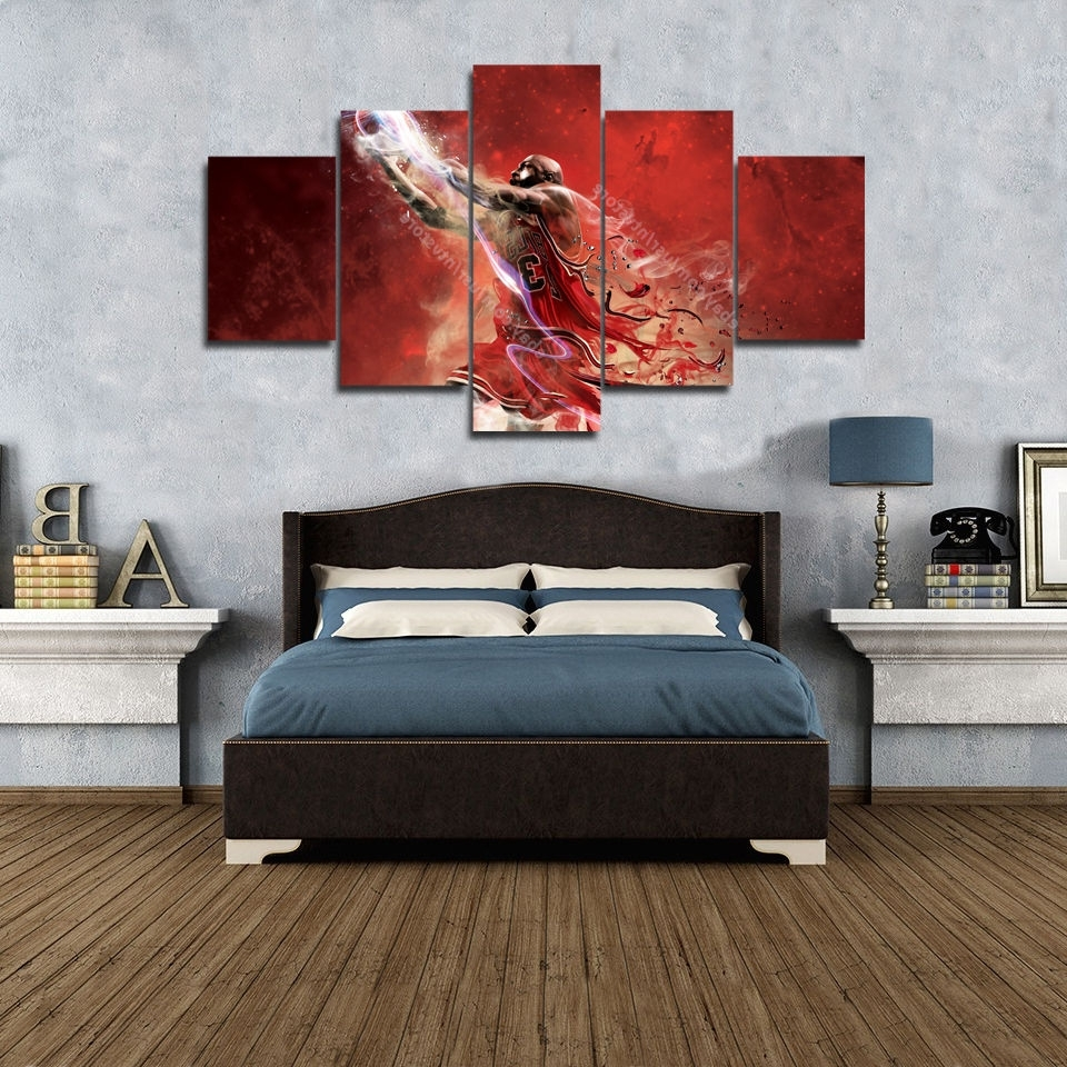 Current Basketball Wall Art Regarding Michael Jordan 23 Wall Art Canvas 5 Piece Picture Print Large (View 13 of 15)