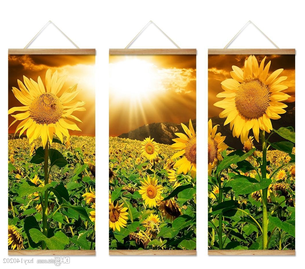 Current Best Yijiahe Flowers Print Scroll Canvas Painting Sunflower Canvas Inside Sunflower Wall Art (View 9 of 15)