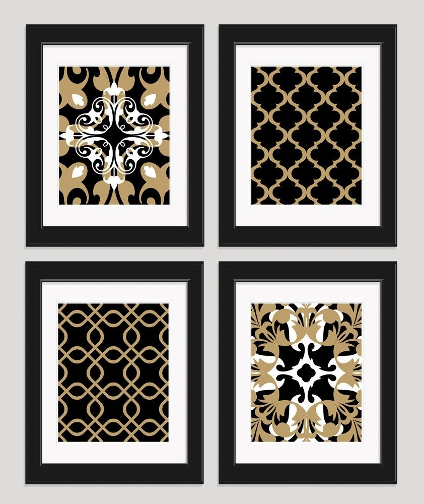 Current Black And Gold Wall Art Within Black White Gold Art Black Gold Wall Art Set Of 4Inkandnectar (View 3 of 15)