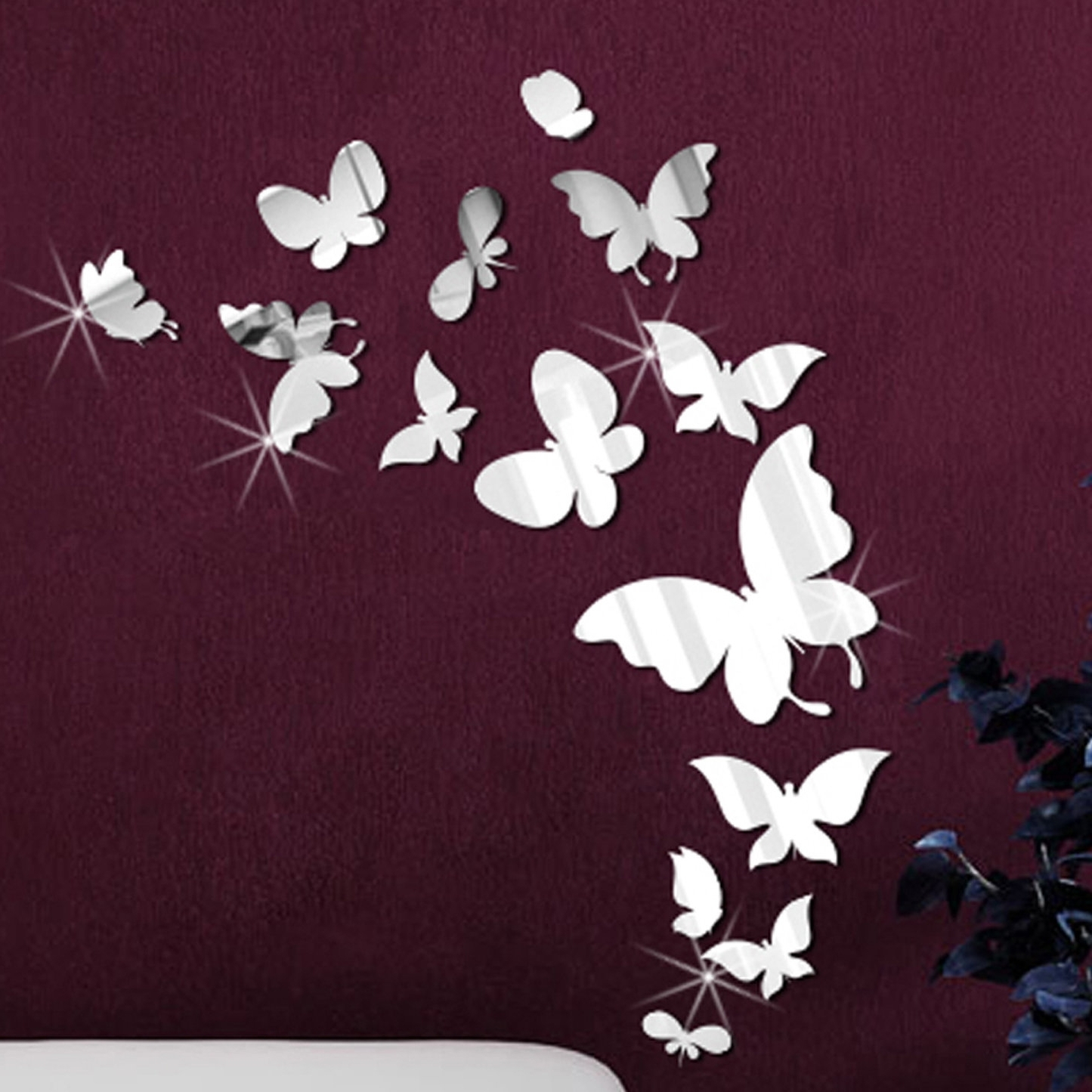 Current Butterfly Wall Art With Regard To Walplus 14 Mirror Butterflies Wall Art Wall Decal & Reviews (View 3 of 15)