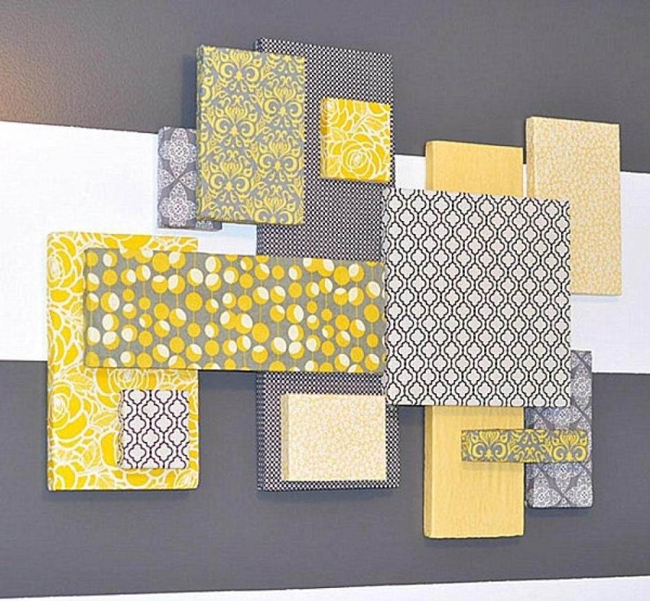 Current Decoration Ideas: Top Notch Wall Decorating Design Ideas For Living For Yellow And Grey Wall Art (View 9 of 15)