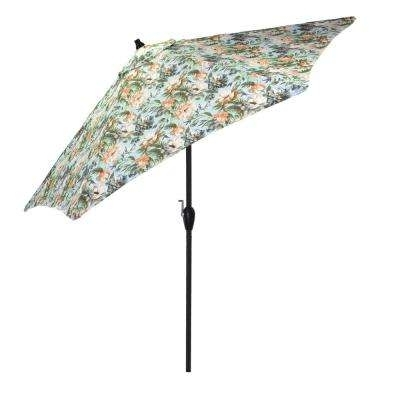 Current Floral – Patio Umbrellas – Patio Furniture – The Home Depot Intended For Tilting Patio Umbrellas (View 12 of 15)