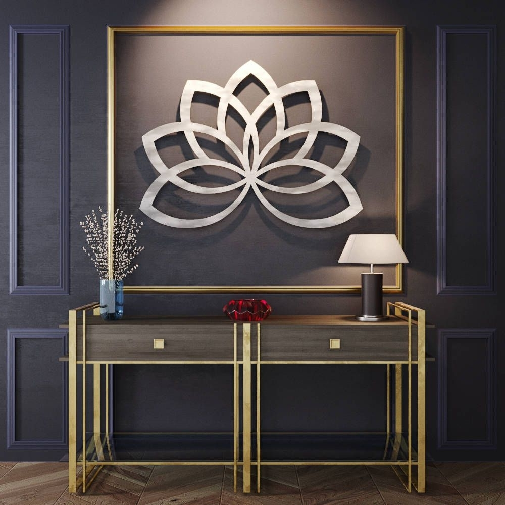Current Geometric Metal Wall Art Pertaining To Geometric Lotus Flower Metal Wall Art, Metal Flower Wall Art, Large (View 3 of 15)