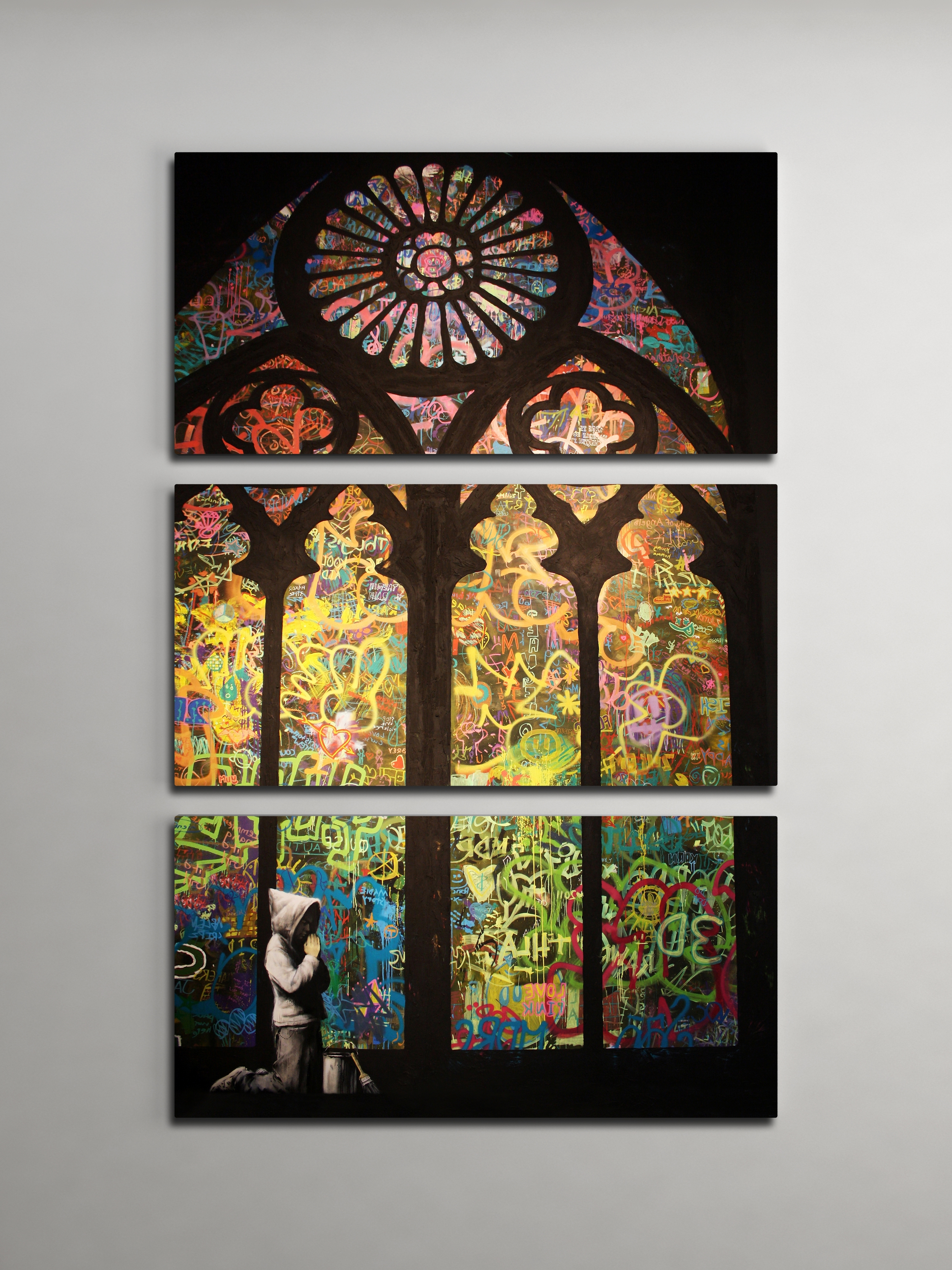 Current Glass Wall Art For Banksy Stained Glass Cathedral Triptych Canvas Wall Art (View 3 of 15)