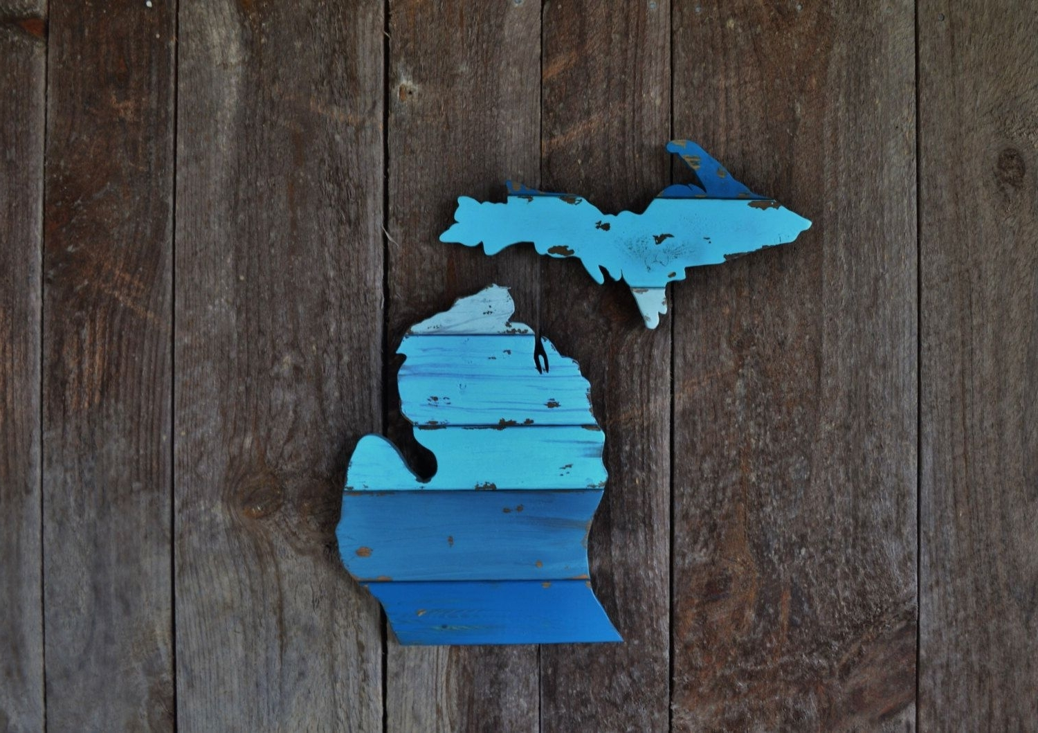 Current Hand Cut Wooden Michigan Wall Art: The Lelandthewoodnwall On Intended For Michigan Wall Art (View 1 of 15)