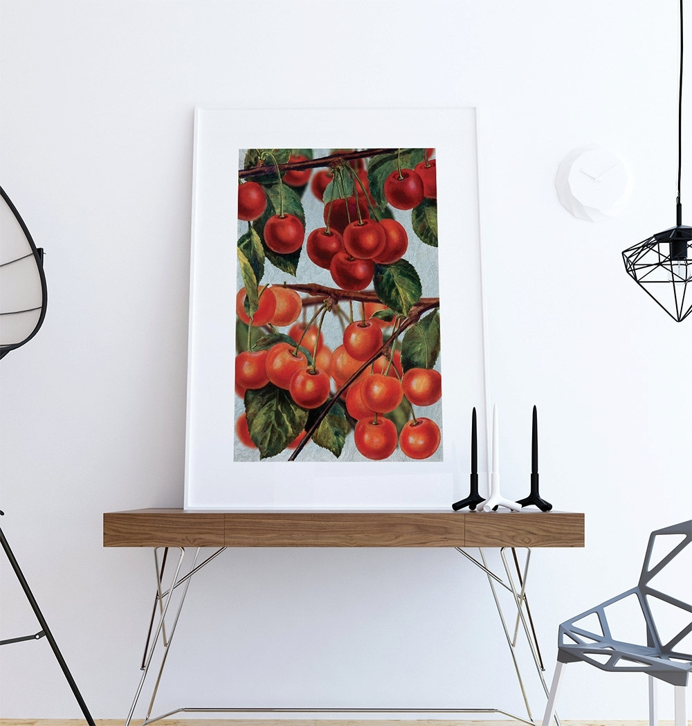 Current Kitchen Wall Art Cherries Print Kitchen Print Food Photograph Fruit Pertaining To Wall Art For Kitchen (View 3 of 15)