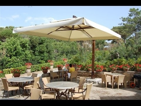 Current Large Patio Umbrellas~Large Patio Umbrella Clearance – Youtube With Patio Umbrellas With Fans (View 14 of 15)