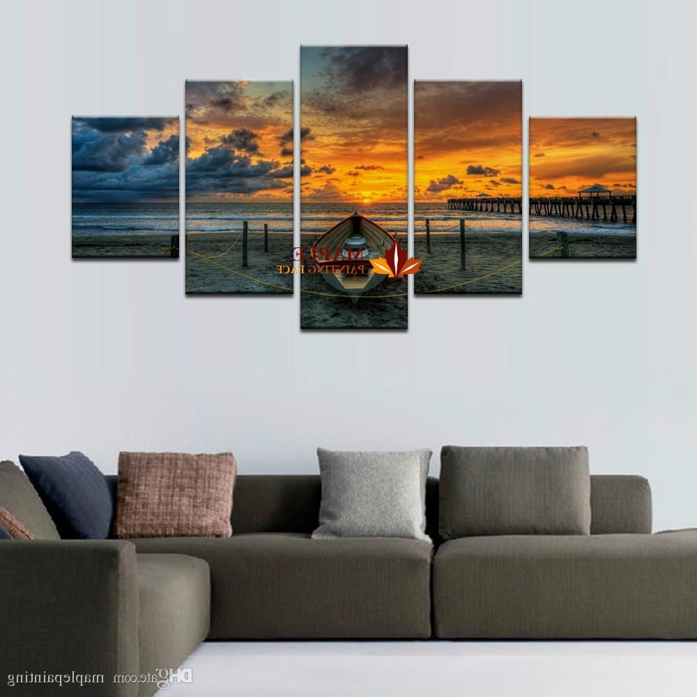 Current Living Room Wall Art Regarding Hot Sell Unframed Large Hd Seaview With Shiptop Rated Canvas Print (View 2 of 15)