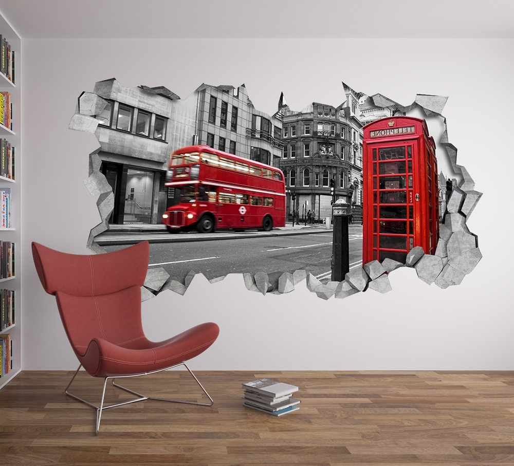 Current London Wall Decal 3D – Broken Wall Decal – 3D Wallpaper – Wall Decal Within 3D Wall Art (View 12 of 15)