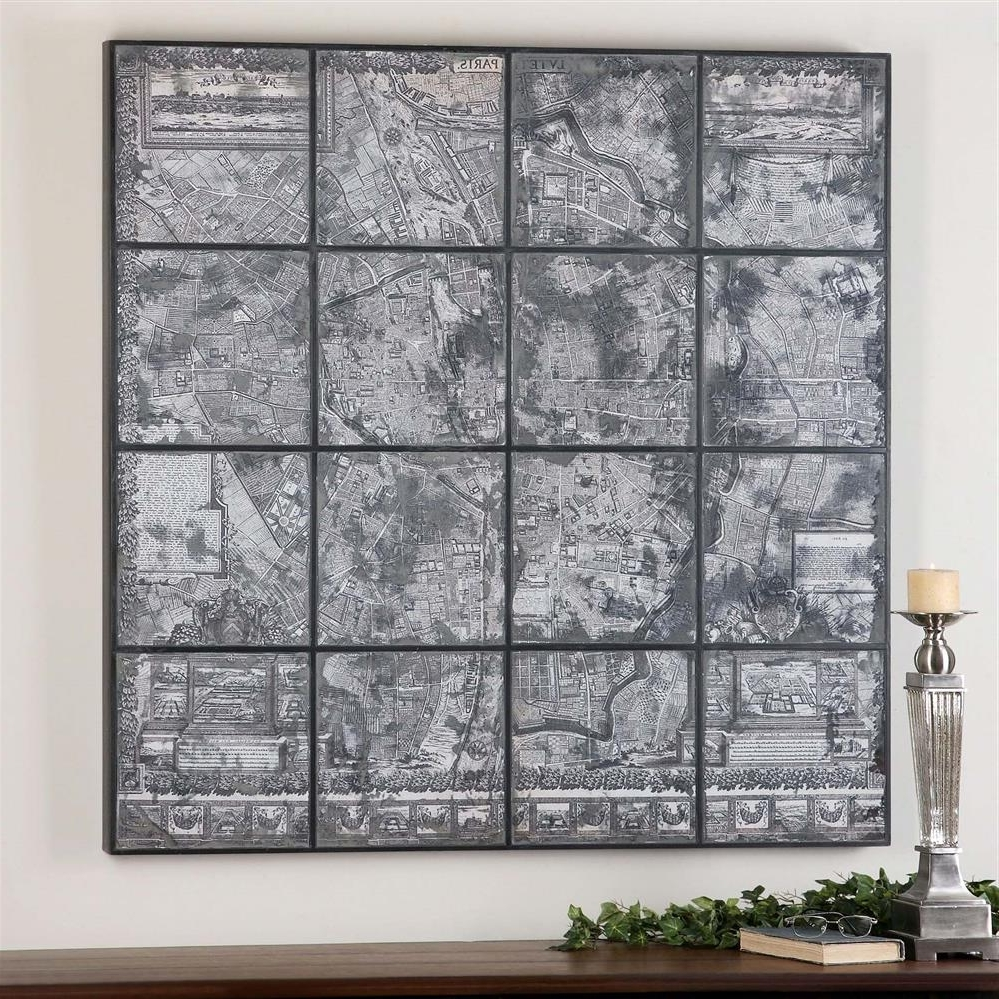Current Map Of Paris Wall Art With Kase Industrial Loft Dark Antique Mirror Parisian Map Wall Art (View 11 of 15)