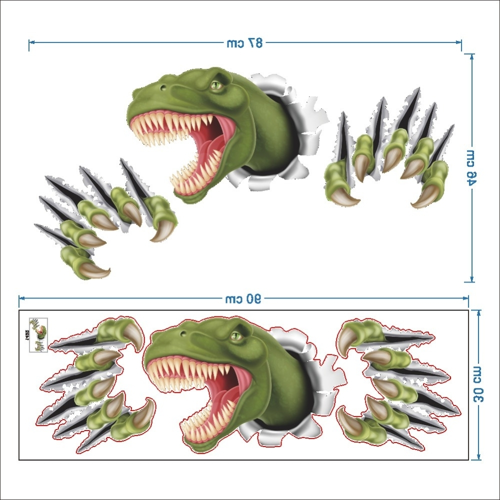 Current New 3D Stereo Dinosaur Break Through Wall Art Mural Poster Through For Dinosaur Wall Art (View 2 of 15)