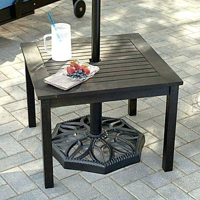 Current Patio Umbrella Side Tables With Regard To Small Outdoor Umbrella Square Umbrella Stand Outdoor Umbrella Stand (View 11 of 15)