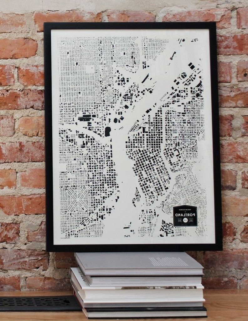 Current Portland Map Wall Art For Portland Oregon Pdx Or City Map Print Screenprint Wall Art For (View 2 of 15)