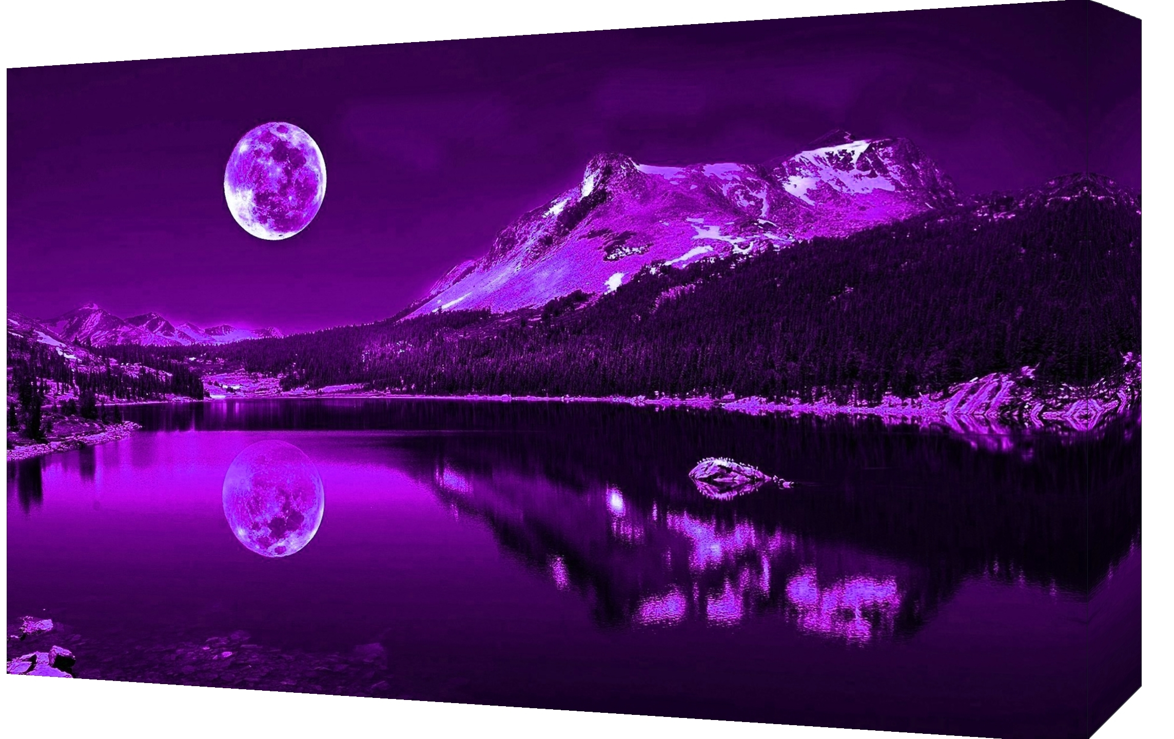 Current Purple Wall Art Canvas For Purple Plum Moonlit Lake Best Purple Canvas Wall Art – Wall (View 6 of 15)