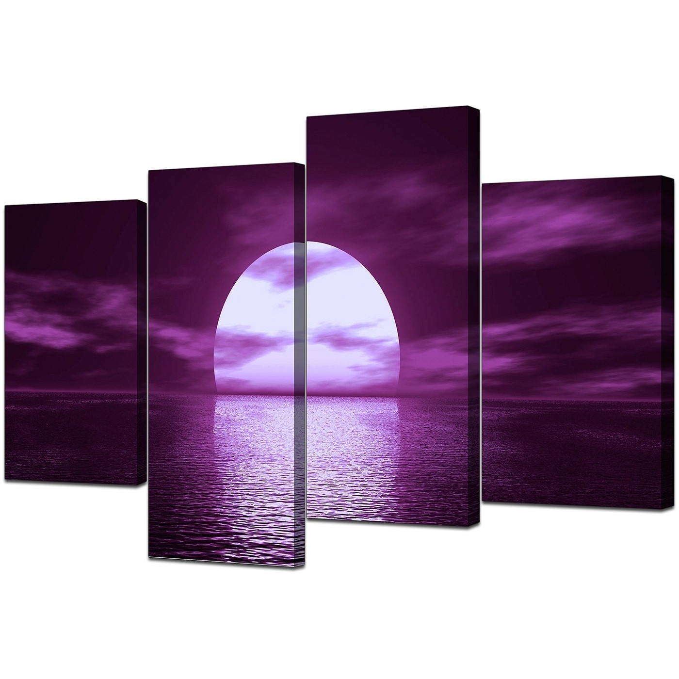 Current Purple Wall Art Canvas With Sunset Seascape Canvases In Purple – For Bedroom (View 3 of 15)