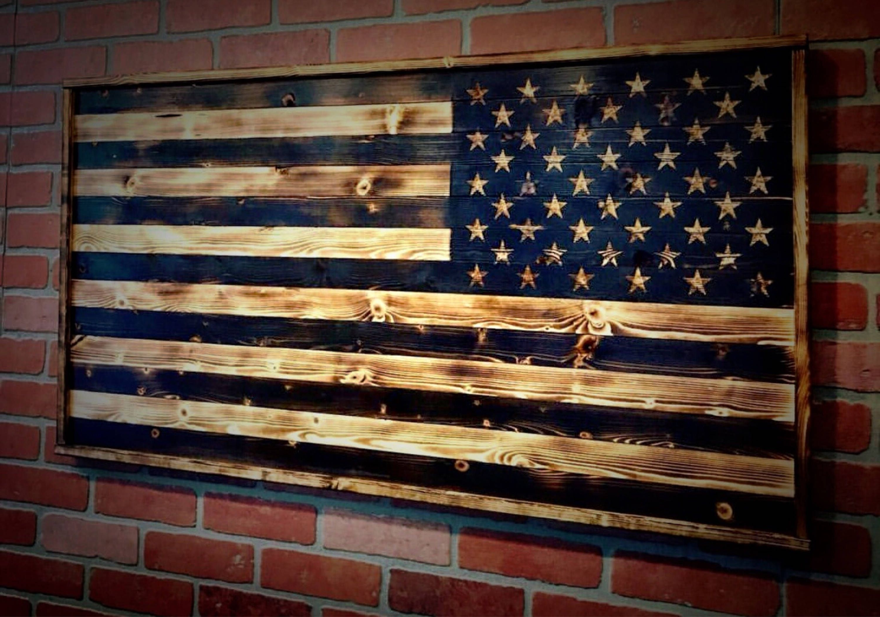 Current Rustic American Flag Wall Art Pertaining To Wood American Flag, Gift For Him, Wood Flag, American Flag (View 13 of 15)