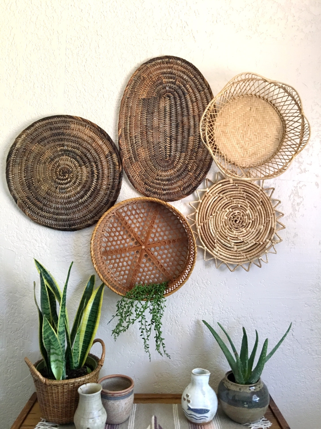 Current Vintage Oval Brown Woven Wicker Basket / Trivet / Placemat, Woven Intended For Woven Basket Wall Art (View 11 of 15)