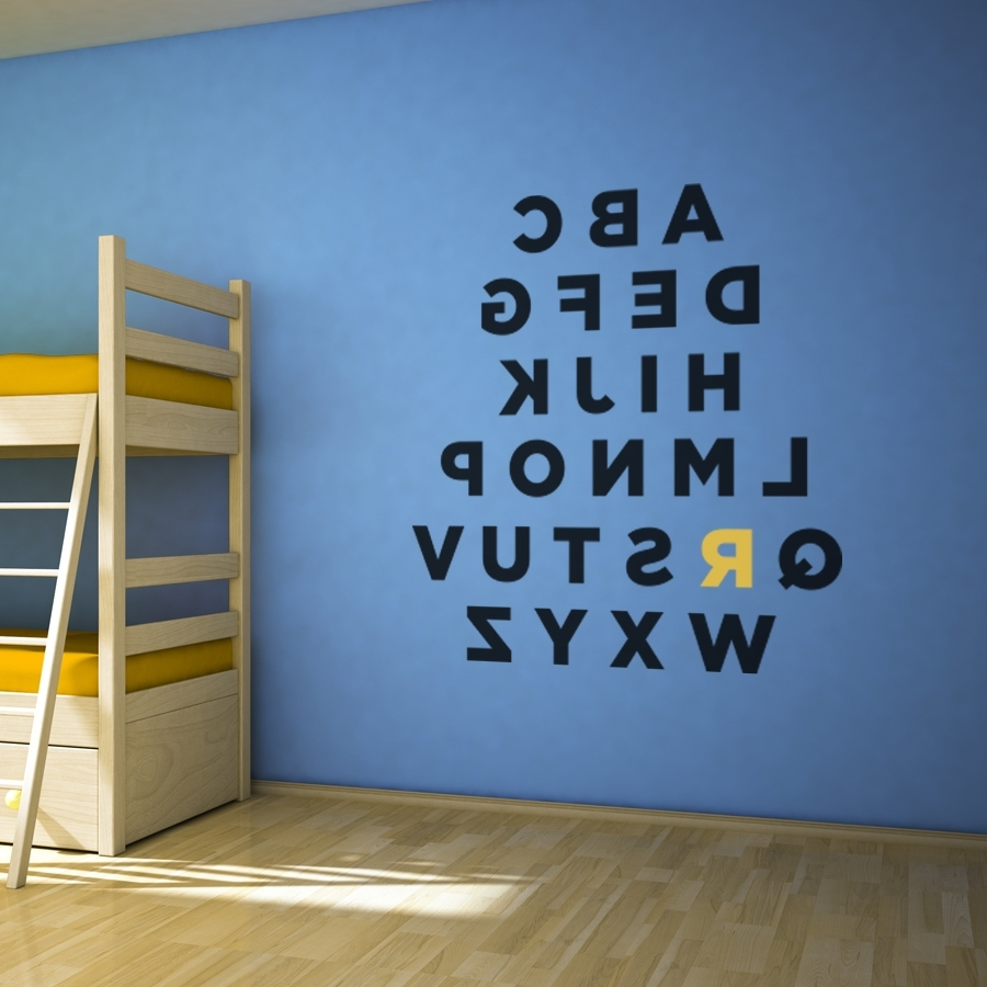 Custom Alphabet Wall Art Decal Throughout Newest Alphabet Wall Art (View 1 of 15)