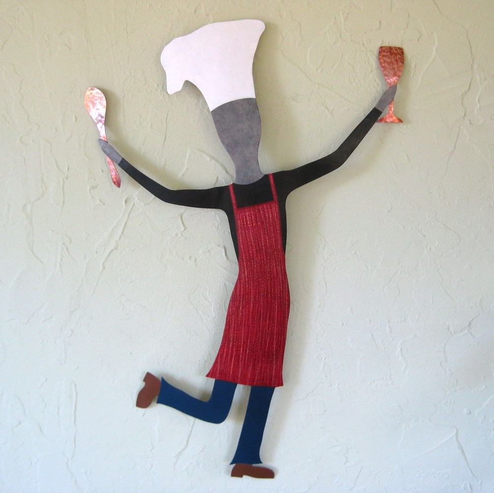 Custom Dancing Male Chef Metal Wall Art Sculpture Kitchen Wall Decor In Popular Kitchen Metal Wall Art (View 12 of 15)