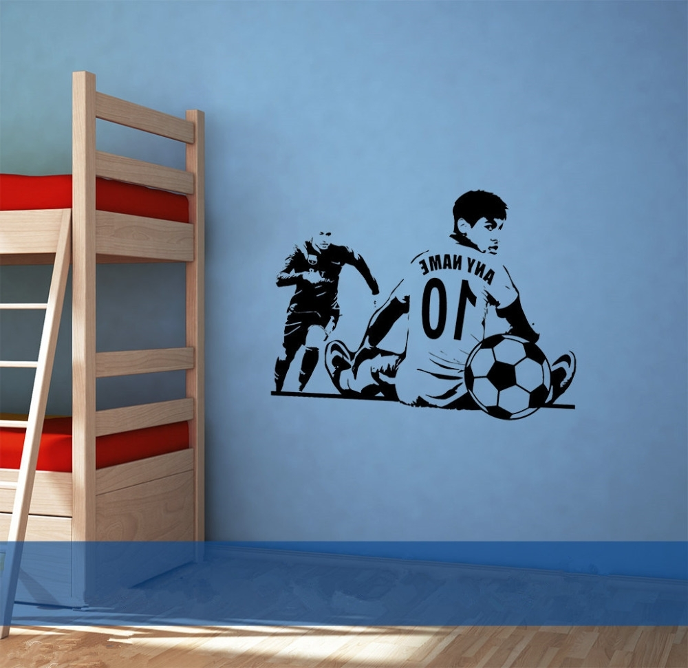 Custom Name Number Soccer Wall Sticker Sofa Background Decorative Pertaining To Most Recent Soccer Wall Art (View 12 of 15)