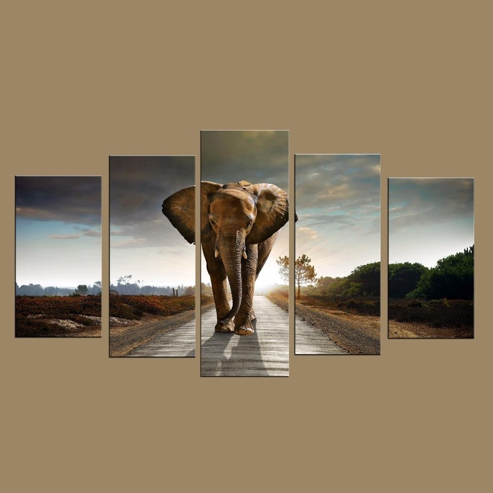 Custom Wall Art Inside Current 2018 Canvas Art Large Modern Printed Elephant Oil Painting Picture (View 5 of 15)