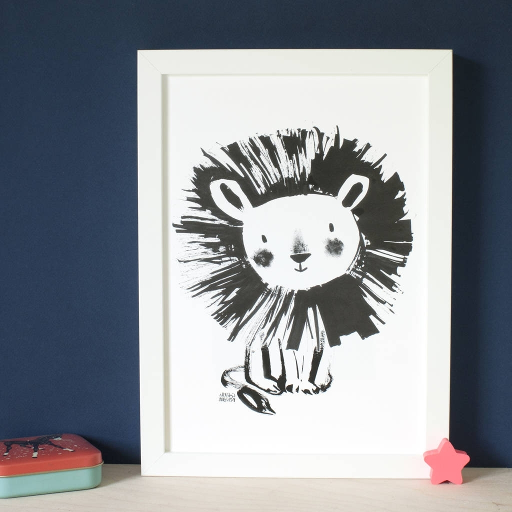 Cute Lion Wall Art Printinkpaintpaper (View 10 of 15)