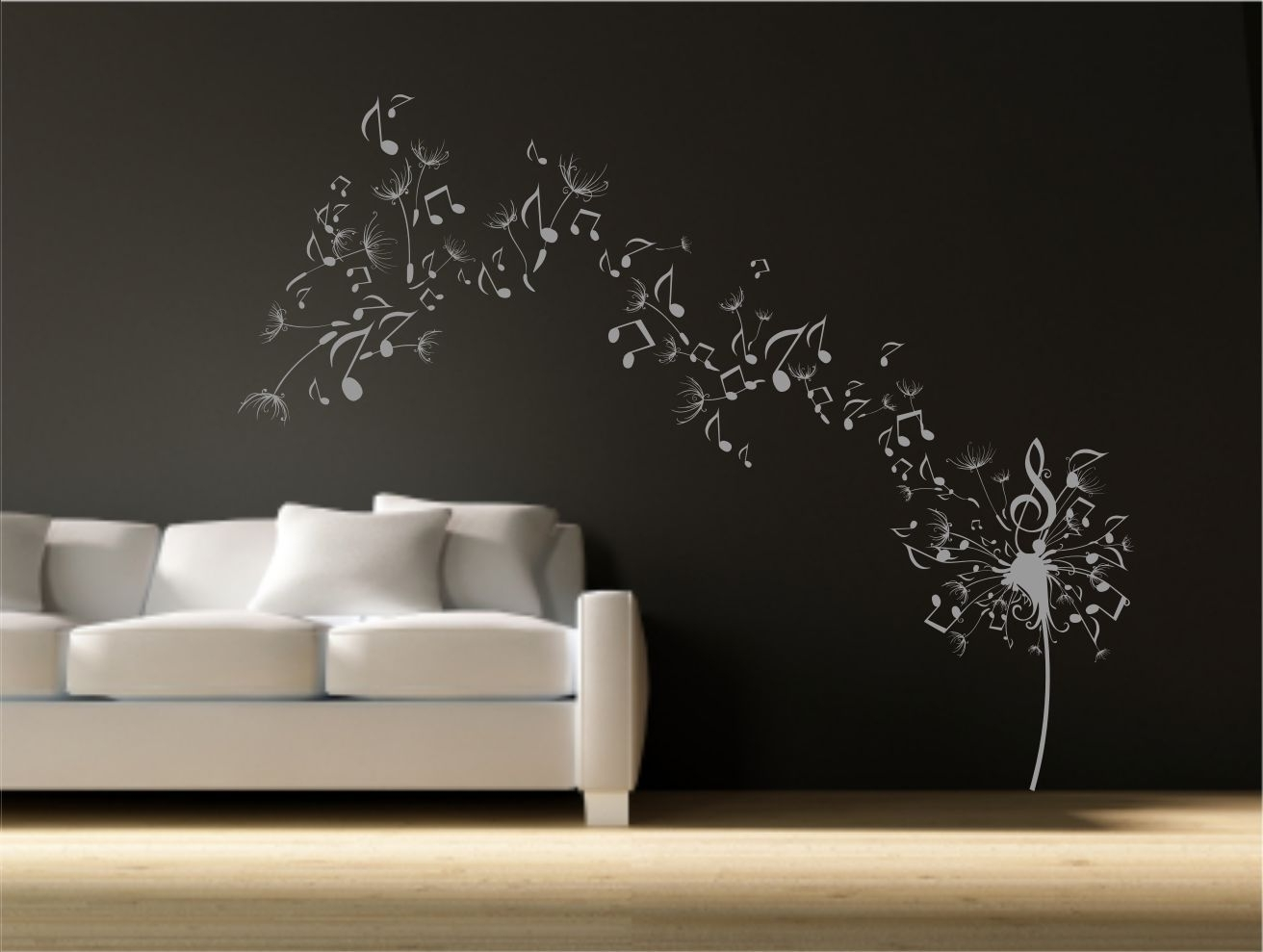 Dandelion Clock Seeds Music Note Wall Decal Sticker Transfer Stencil With Regard To Most Popular Dandelion Wall Art (View 3 of 15)